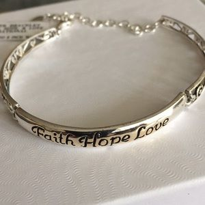 Faith Hope Love Sterling Silver Bracelet NWT